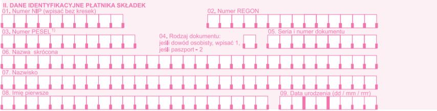 Dane identyfikacyjne płatnika składek